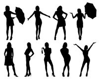 silhouettes kvinnan Royaltyfria Bilder