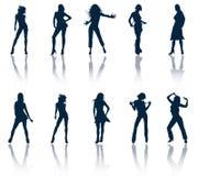 silhouettes kvinnor Stock Illustrationer
