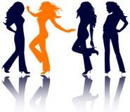 silhouettes kvinnor vektor illustrationer