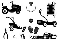 Silhouettes of lawn mowers icons vector set. Set of silhouettes of garden equipment for grass mowing. Black and white vector icons illustration. Lawn mower and Stock Photo
