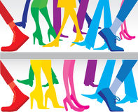 Silhouettes of legs. Colored silhouettes of people walking legs Royalty Free Illustration