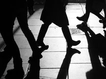 Silhouettes_of_legs Stock Photography