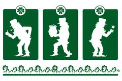 Silhouettes of leprechaun on St Patrick's Day Royalty Free Stock Photography