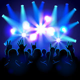 Silhouettes and lights on musical concert. Vector background Vector Illustration