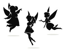 Silhouettes of little fairies Royalty Free Stock Photography