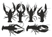 Silhouettes of lobsters. Royalty Free Stock Image