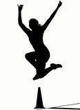 Silhouettes - Long Jump Stock Images