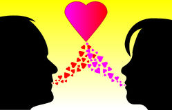 Silhouettes of love Royalty Free Stock Photos