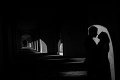 Silhouettes of lovers Stock Images