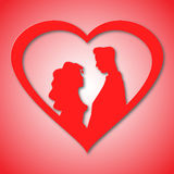 Silhouettes of loving couple in red heart. Card for engagement, wedding, marriage, Valentines Day. Design for romance Stock Images