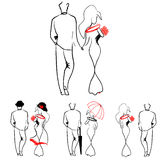Silhouettes of loving couples walking. Romance Royalty Free Stock Photography