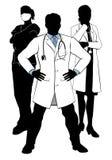 Silhouettes médicales de groupe de Team Doctors et d'infirmières illustration libre de droits