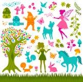 Silhouettes magiques de forêt Image stock