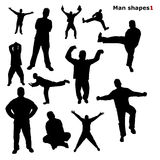 Silhouettes of the man. Dances and  simple motion Stock Photos