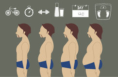 Silhouettes of man losing weight, illustrations Royalty Free Stock Photo