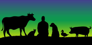 Silhouettes of man with many animals in night with stars. Blue vegan picture Royalty Free Stock Images