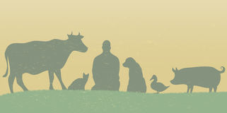 Silhouettes of man with many animals retro. Grunge style Stock Images