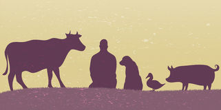Silhouettes of man with many animals retro. Violet grunge vintage Stock Photography