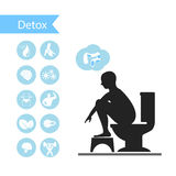 Silhouettes man sitting on a toilet with detox icons. Silhouettes man sitting on a toilet with detox Stock Photo