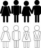 silhouettes of man and woman Stock Image