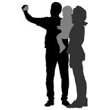 Silhouettes man and woman with a child, make selfie smartphone on white background. Vector illustration Stock Images