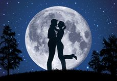 A loving couple embraces in the moonlight stock illustration