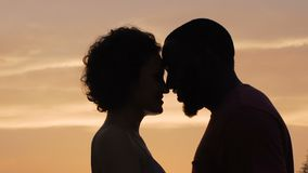 Silhouettes of man and woman gently touching each other, sunset background. Stock footage stock video footage