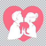 Man and woman kissing on background of red heart.Silhouettes man and woman on transparent background for Valentines Day. Silhouettes of man and woman merge into Royalty Free Stock Image