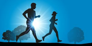 A couple is jogging in the countryside. vector illustration