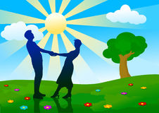 Silhouettes of man and woman standing on meadow. Silhouettes of man and woman standing on summer meadow stock illustration