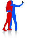 Silhouettes  man and woman taking selfie with Royalty Free Stock Photos