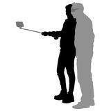 Silhouettes man and woman taking selfie with smartphone on white background. Vector illustration Royalty Free Stock Images
