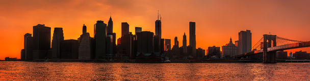 Silhouettes of Manhattan. Royalty Free Stock Photography