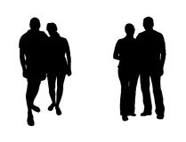 Silhouettes  of mans and womans Stock Photography