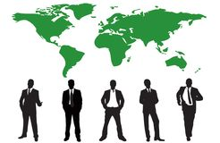 Silhouettes of many business people Stock Photos