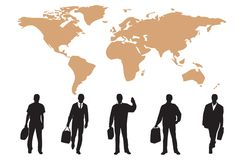 Silhouettes of many business people Stock Photo