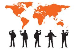 Silhouettes of many business people Royalty Free Stock Images