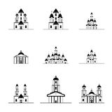 Silhouettes of many different churches Royalty Free Stock Photography