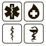 Silhouettes medical symbols Royalty Free Stock Image