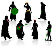 Silhouettes of medieval people Stock Photo