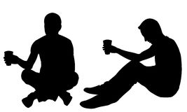 Silhouettes of men begging Royalty Free Stock Images