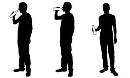 Silhouettes of men drinking from bottles Royalty Free Stock Photos