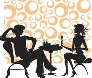 Silhouettes men and girl Royalty Free Stock Images
