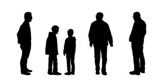 Silhouettes of men looking on something set 2 Royalty Free Stock Images