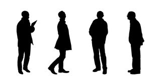 Silhouettes of men looking on something set 1 Stock Image