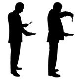 Silhouettes of men with plates and forks Stock Image