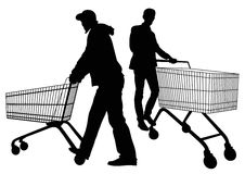 Silhouettes of men with shopping trolleys Royalty Free Stock Image