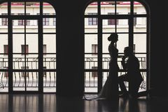 Silhouettes of a man in a suit and women in a dress and with a bouquet of flowers. The man knelt down in front of his stock photo