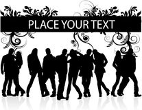 Silhouettes of men and women. With text Stock Photos