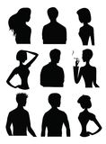 Silhouettes of men and women Royalty Free Stock Photo